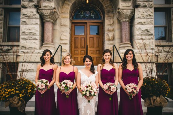 Bridal Party Outside Historic Courthouse 1893 Wedding Venue